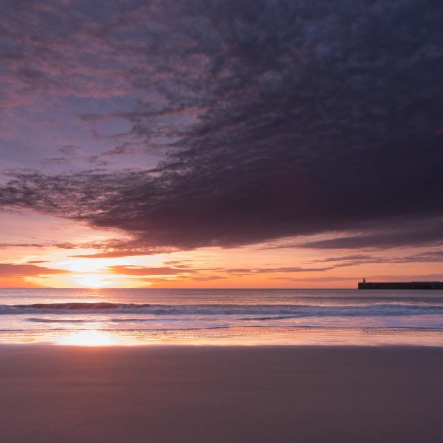 """Sunny sands beach, Folkestone, UK"" stock image"