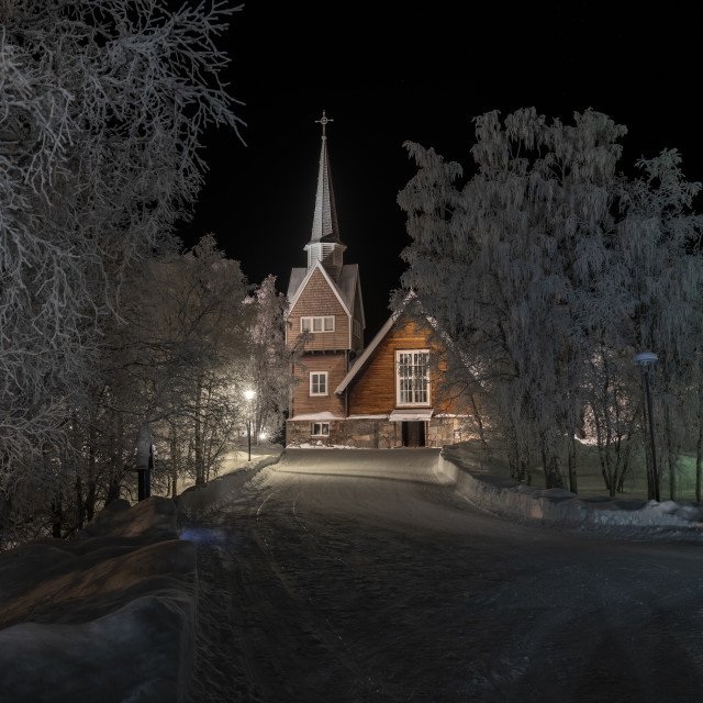 """Wooden Church Arctic circle"" stock image"