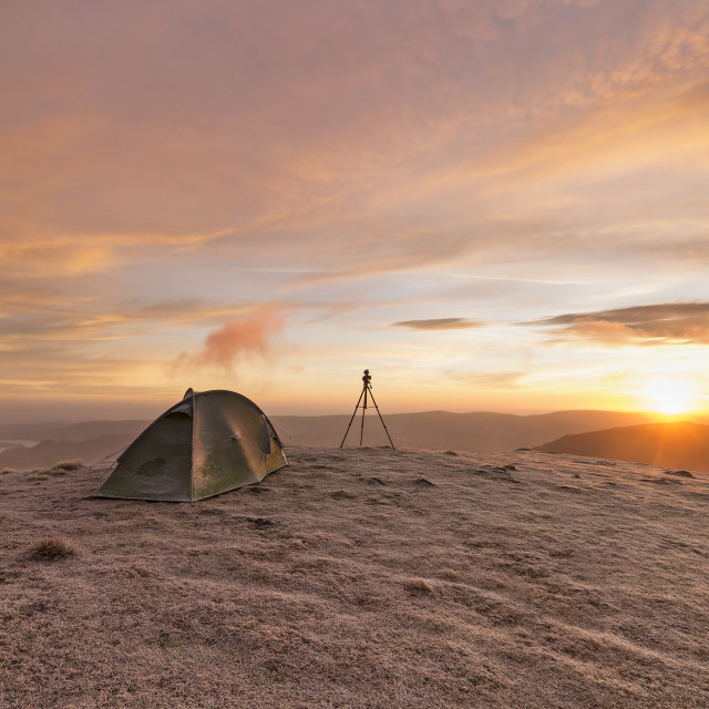 """""""Wild Camping on a Frosty Winter Morning, Lake District"""" stock image"""