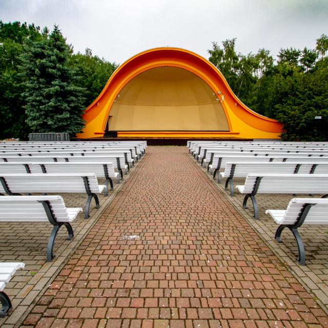 """Public outdoor concert shell, auditorium on the promenade in Swinoujscie, Poland"" stock image"