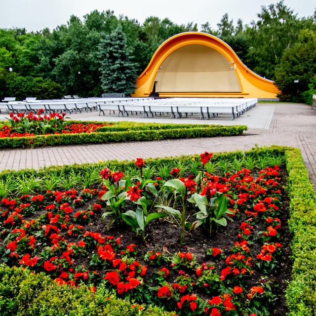 """Public outdoor concert shell, auditorium on the promenade in, Swinoujscie, Poland"" stock image"