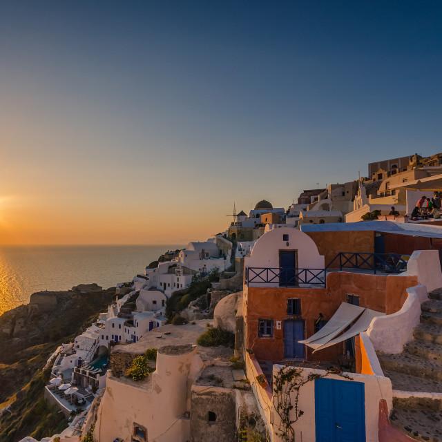 """Sunset in Oia Santorini"" stock image"
