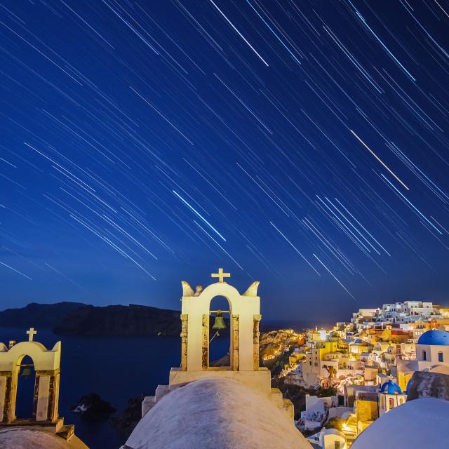 """""""Startrail in Santorini"""" stock image"""