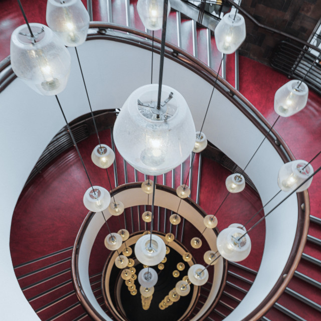 """""""Red spiral staircase. Rotterdam, The Netherlands"""" stock image"""