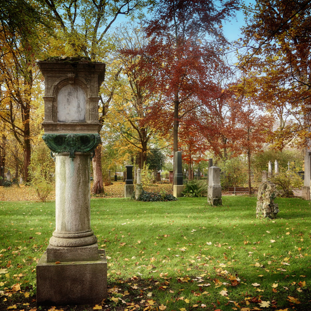 """Munich, Alter Nordfriedhof (old cemetery North) public park"" stock image"