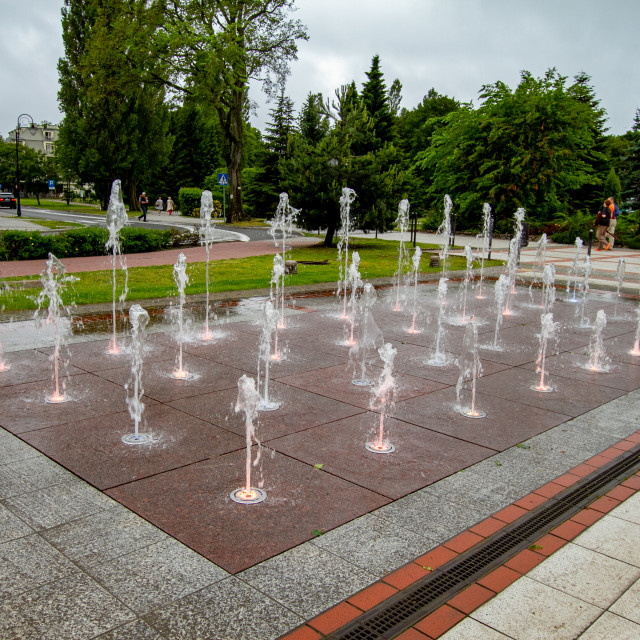 """The Fountain on The Promenade, Swinoujscie, Poland."" stock image"