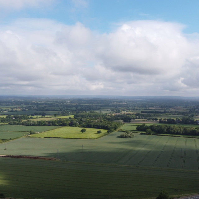 """High altitude drone shot of the Sussex countryside."" stock image"