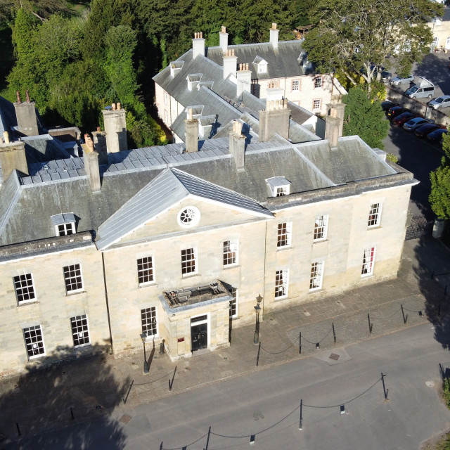 """Aerial shot at 200ft of Stanmer House."" stock image"