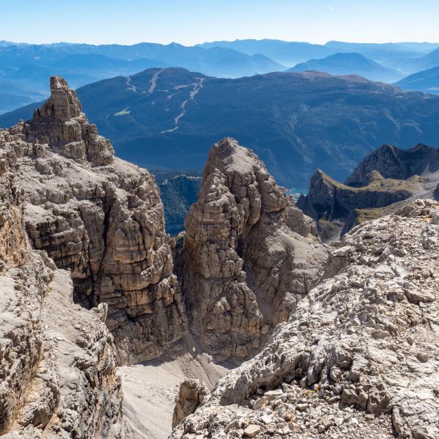 """View of the mountain peaks Brenta Dolomites. Trentino, Italy"" stock image"