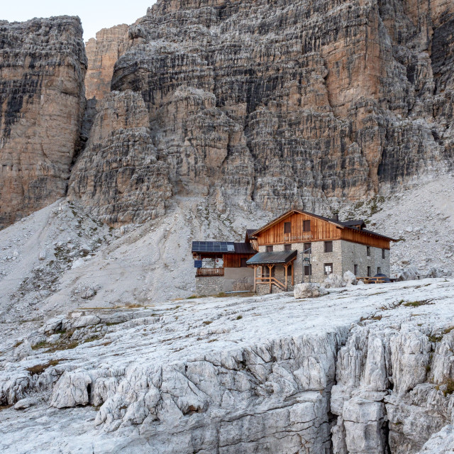 """Mountain landscape and alpine hut Angelo Alimonta in Dolomites A"" stock image"