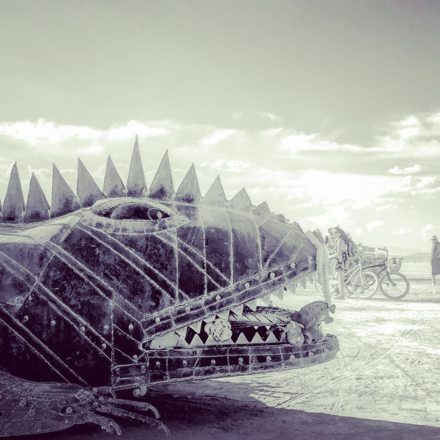 """Desert Life - Mutant Art Car, Burning Man"" stock image"