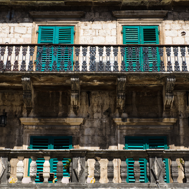 """""""Teal Shutters"""" stock image"""