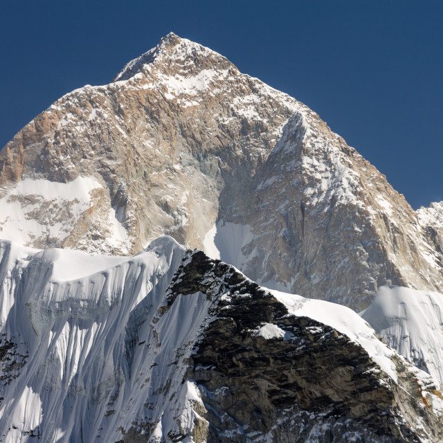 """Makalu, the West Face. World's fifth highest mounain."" stock image"