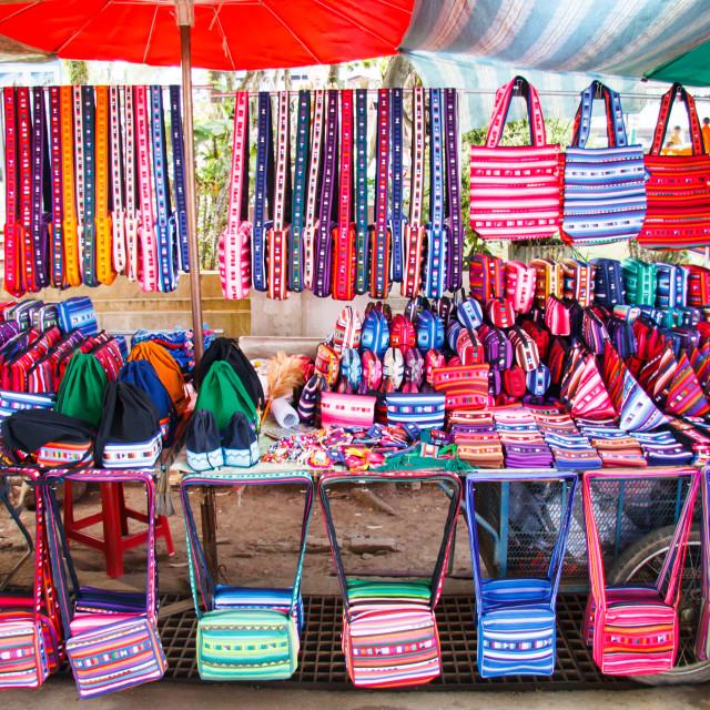 """Hill tribe handbags and purses"" stock image"