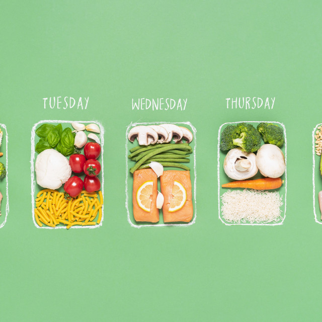 """""""Weekly meal plan. Meal prep concept. Raw food ingredients in boxes"""" stock image"""
