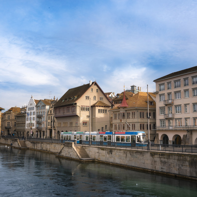 """""""Zurich cityscape with old architecture and Limmat river at sunrise"""" stock image"""