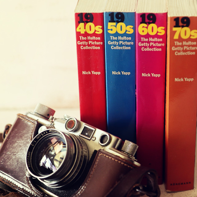 """Vintage Leica camera and picture collection"" stock image"