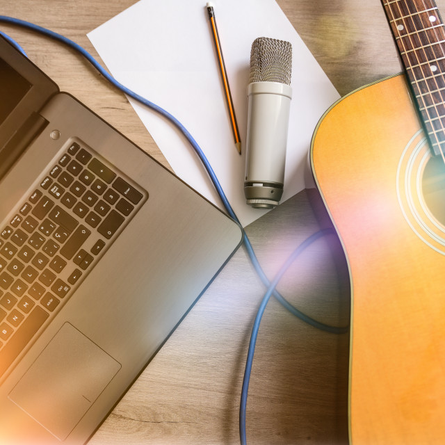 """""""Home recording equipment for music laptop guitar and microphone"""" stock image"""
