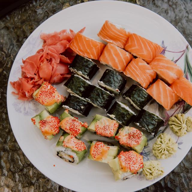 """Sushi set on plate ready to eat."" stock image"