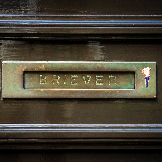 """Brass horizontal letterbox"" stock image"