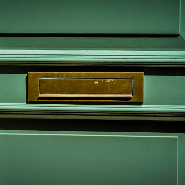"""Brass horizontal flap letterbox"" stock image"