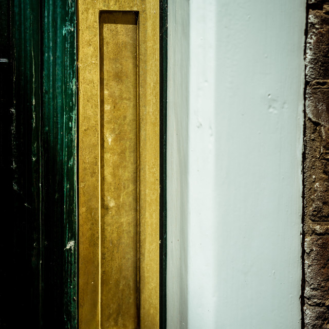 """""""Gold vertical letterbox"""" stock image"""