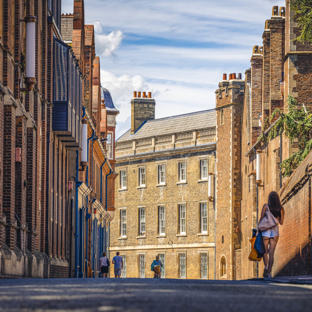 """Silver Street, Cambridge UK."" stock image"