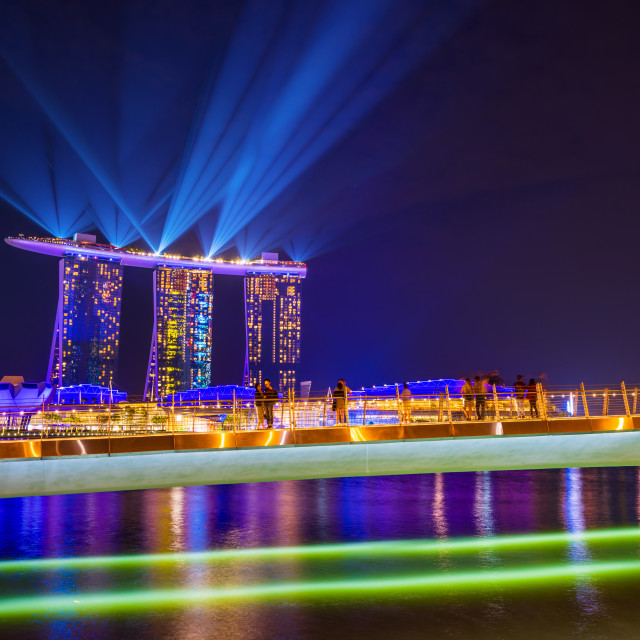 """Spectra Light and Water Show Marina Bay Sand Casino Hotel"" stock image"