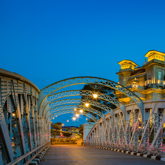 """View at the Anderson Bridge in Singapore"" stock image"