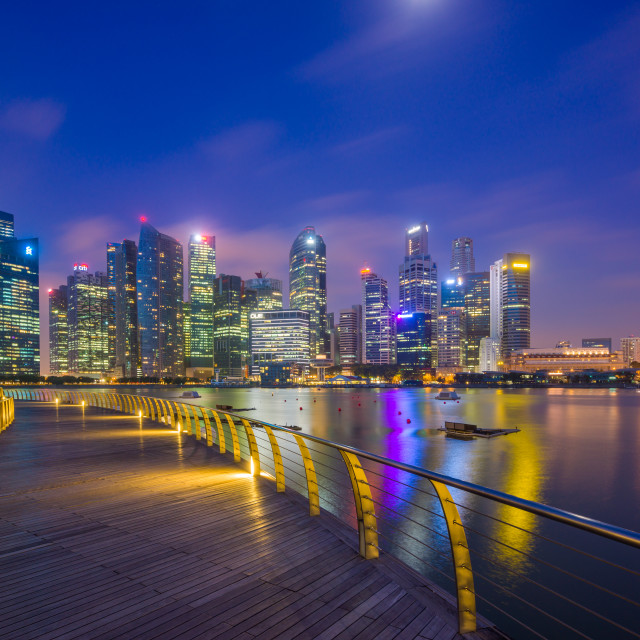 """Singapore skyline at night"" stock image"