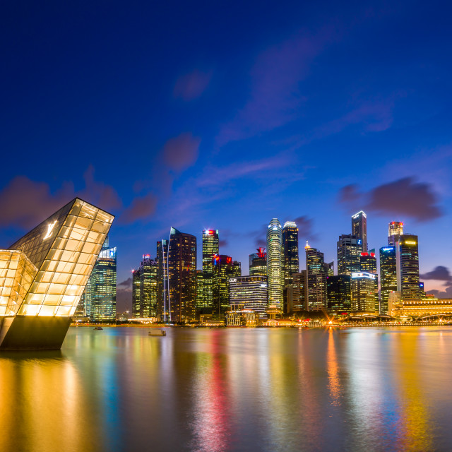 """Singapore financial district skyline"" stock image"