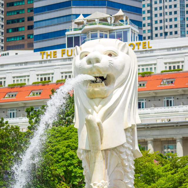 """Singapore Merlion Park downtown Singapore business district"" stock image"