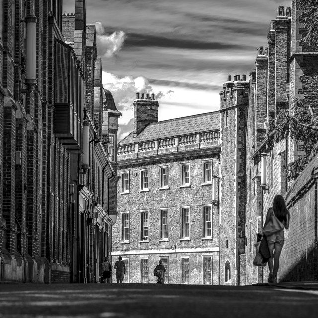 """""""Silver Street in Black and White, Cambridge UK."""" stock image"""