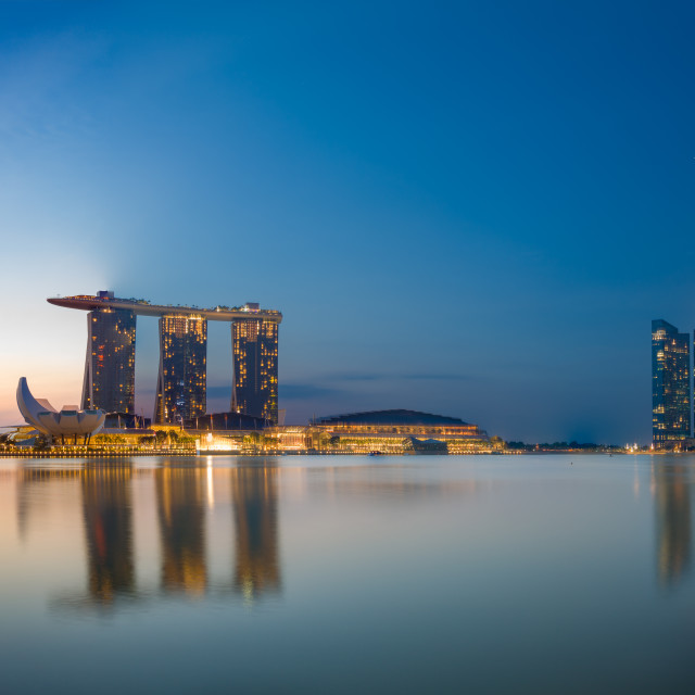 """View Of Marina Bay sands at sunrise in Singapore"" stock image"
