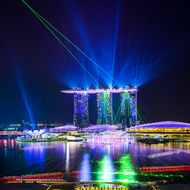 """Spectra Light and Water Show Marina Bay Sand Casino Hotel Downto"" stock image"