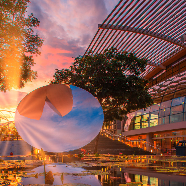 """Sunrise at the Art and scence museum in Singapore city"" stock image"