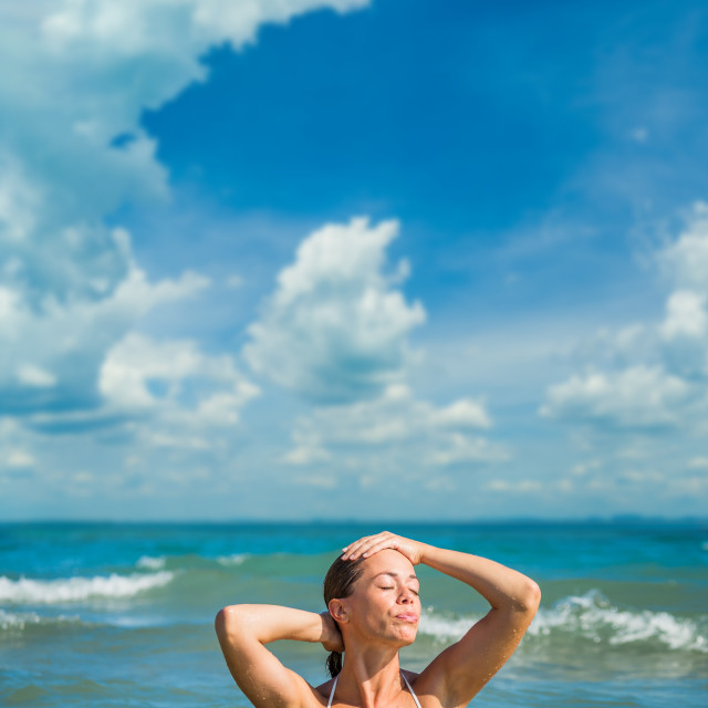 """""""Classy woman on the beach"""" stock image"""