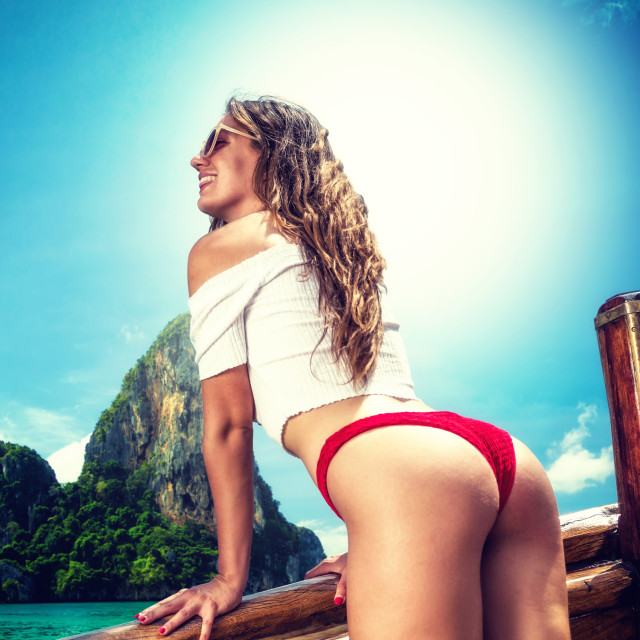 """""""Woman Travel adventure yachting in Thailand"""" stock image"""