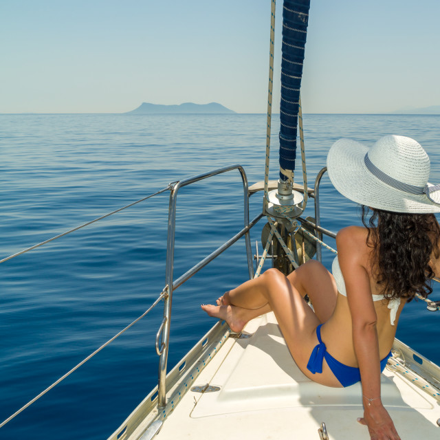 """""""Woman on board of sailing yacht"""" stock image"""