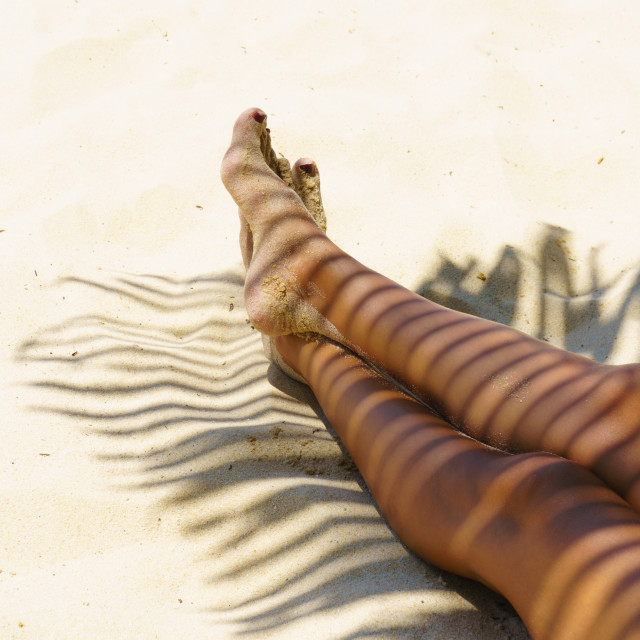 """""""Woman legs with coconut leaf shadow"""" stock image"""