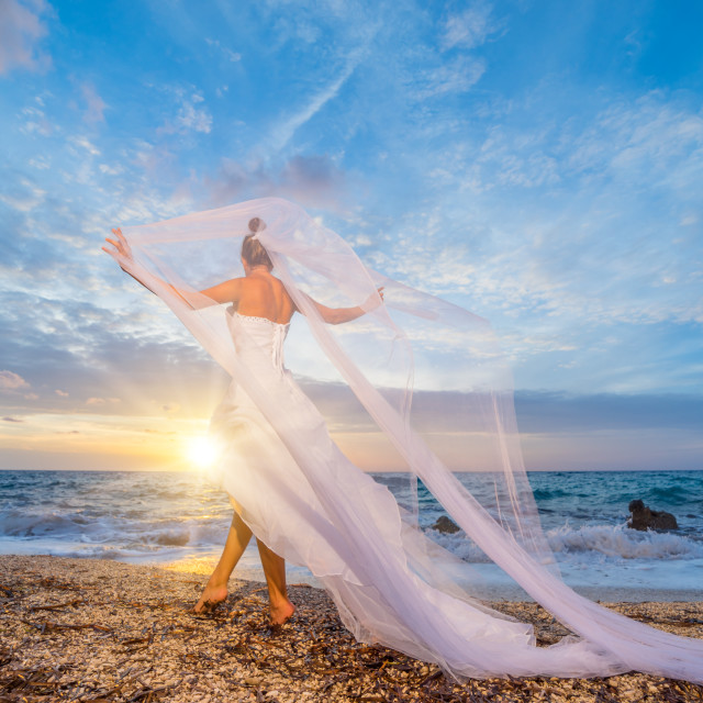 """""""bride on a beach with the sunset in the background"""" stock image"""