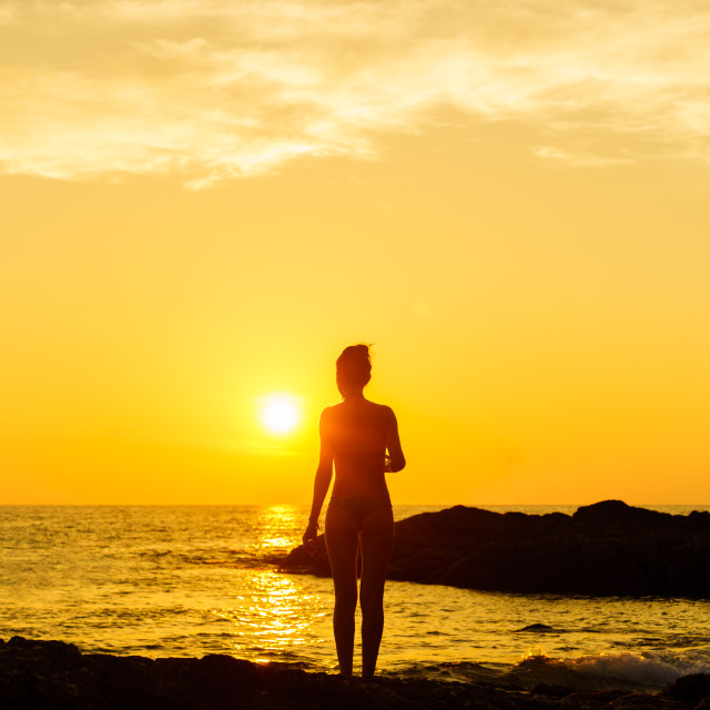 """""""People on the beach Silhouette"""" stock image"""