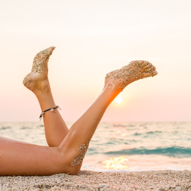 """""""Woman in white bikini on the beach"""" stock image"""