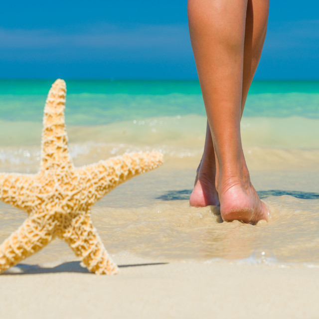 """""""feet on the wet sand with a starfish."""" stock image"""