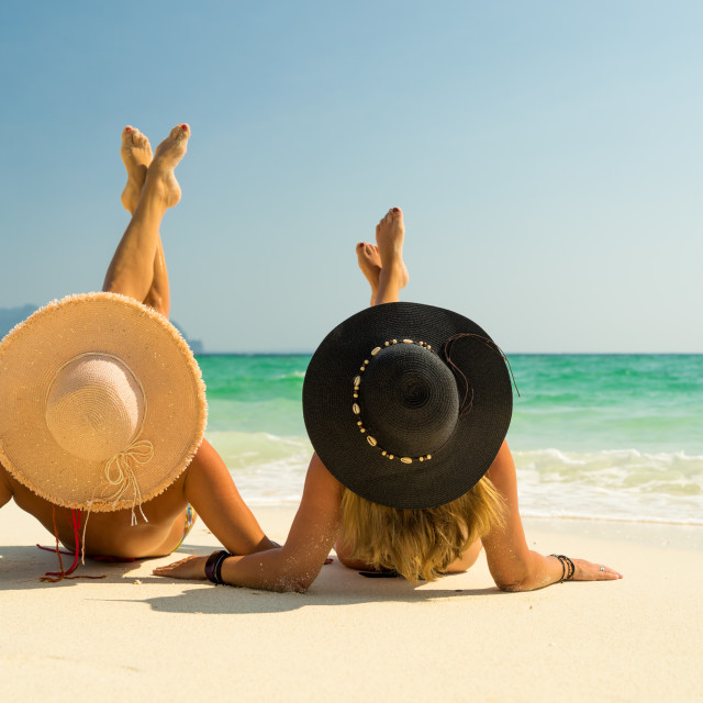 """""""Two Women at the beach in Koh Poda island Thailand"""" stock image"""