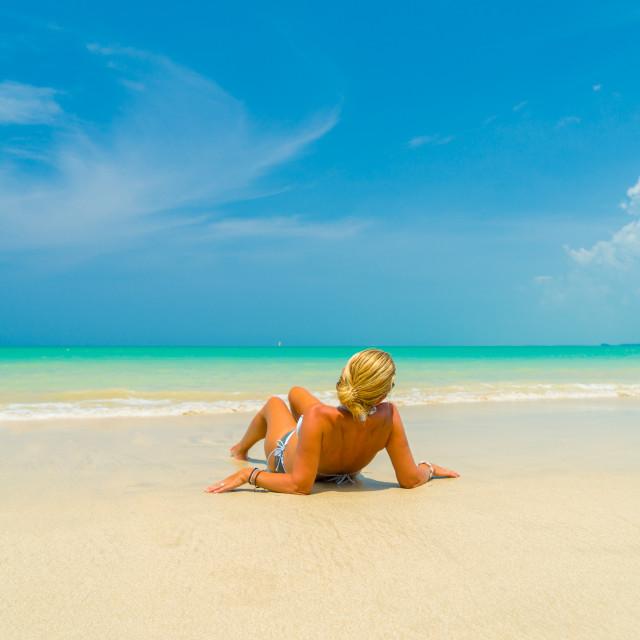 """Woman on a beautiful beach"" stock image"