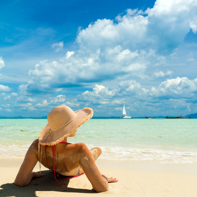 """""""Woman with a straw hat at the beach in Koh Poda island Thailand"""" stock image"""