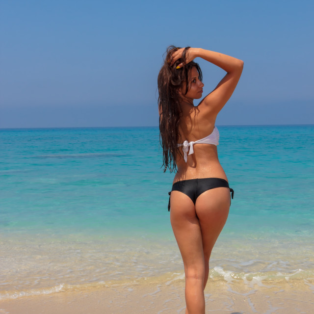 """""""Happy young woman on the beach"""" stock image"""