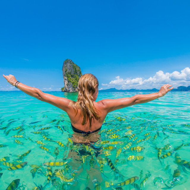 """""""Woman swimming with snorkel, Andaman Sea, Thailand"""" stock image"""