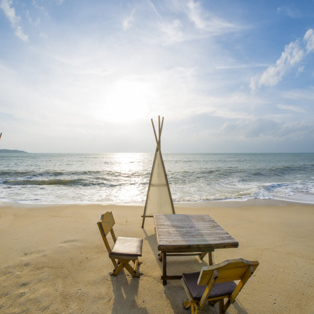 """""""Dinning table on the beach"""" stock image"""